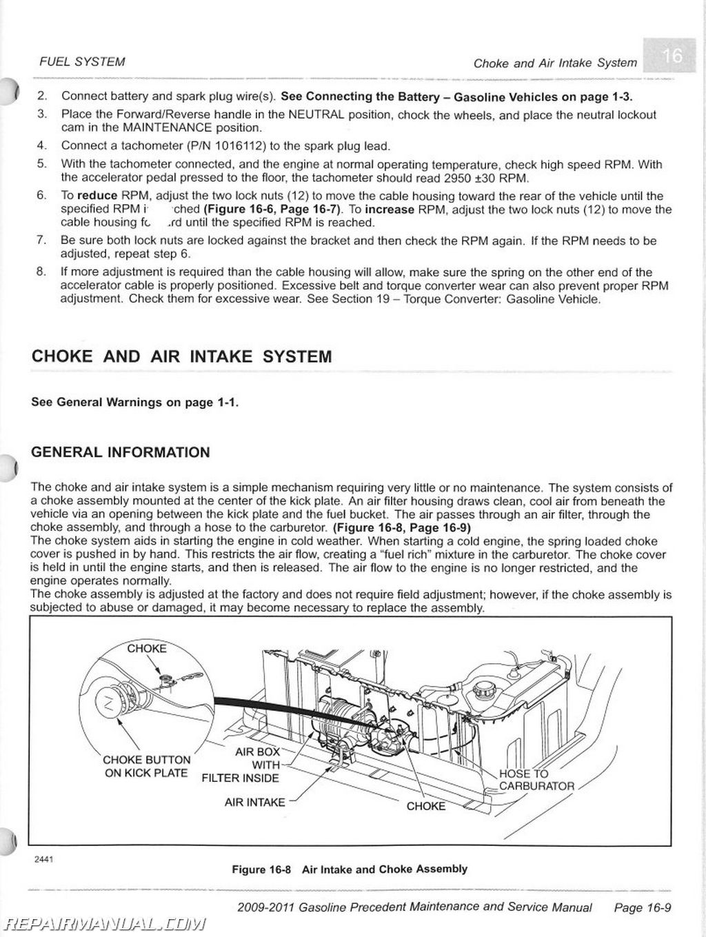 2009 2011 club car gasoline precedent maintenance and service manual rh  repairmanual com Club Car Fuel Pump 2007 Club Car Parts Diagram