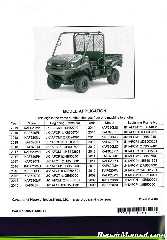 2009-2019 Kawasaki KAF620M N P Mule 4010 4×4 4000 Service Manual