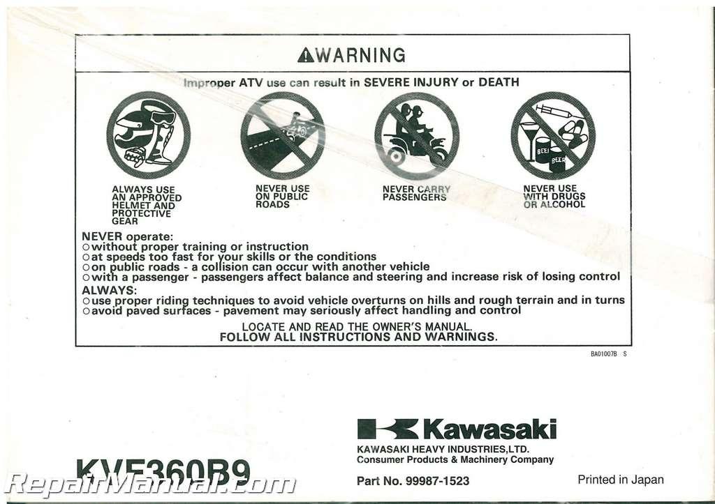 Kawasaki Prairie  Owners Manual