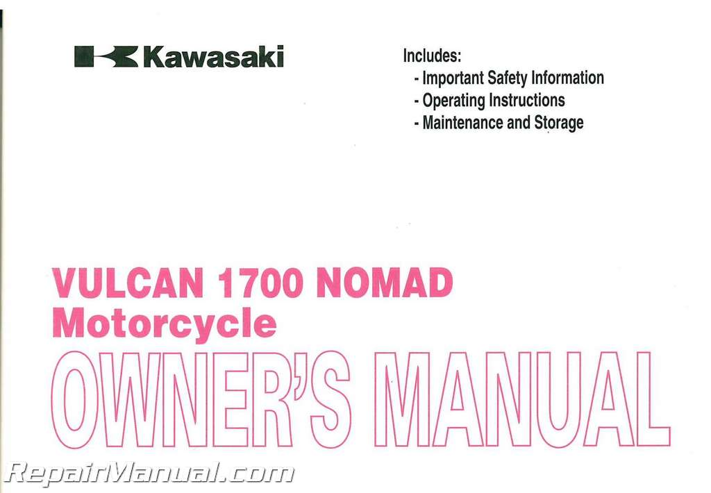 2009 kawasaki vn1700c vulcan nomad motorcycle owners manual for Nomad service
