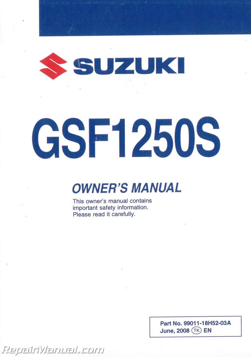 2009 suzuki bandit 1250 gsf1250s sa abs motorcycle owners manual.