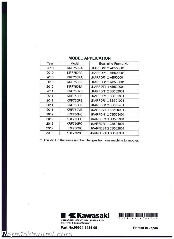 2010 2011 2012 2013 kawasaki krf750 teryx 750 4x4 le utv