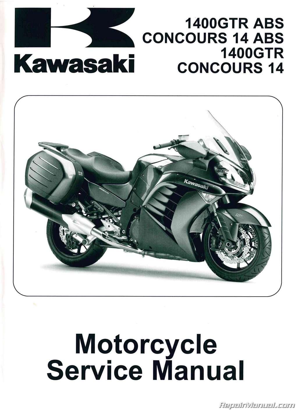 2010 – 2014 Kawasaki ZG1400C D Concours ABS Non-ABS Motorcycle Service  Manual