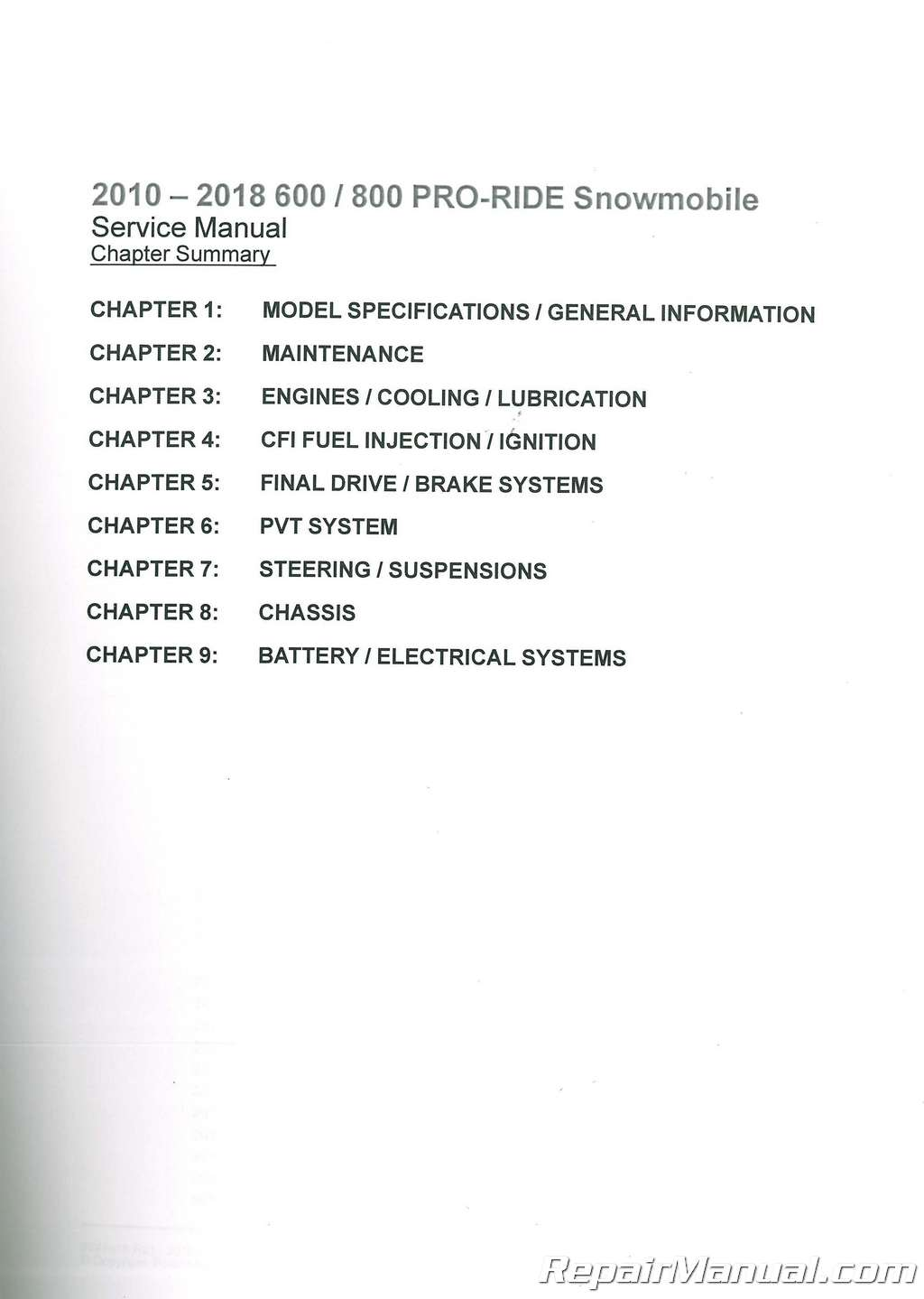 polaris 600 pro rmk 155 2012 service repair workshop manual