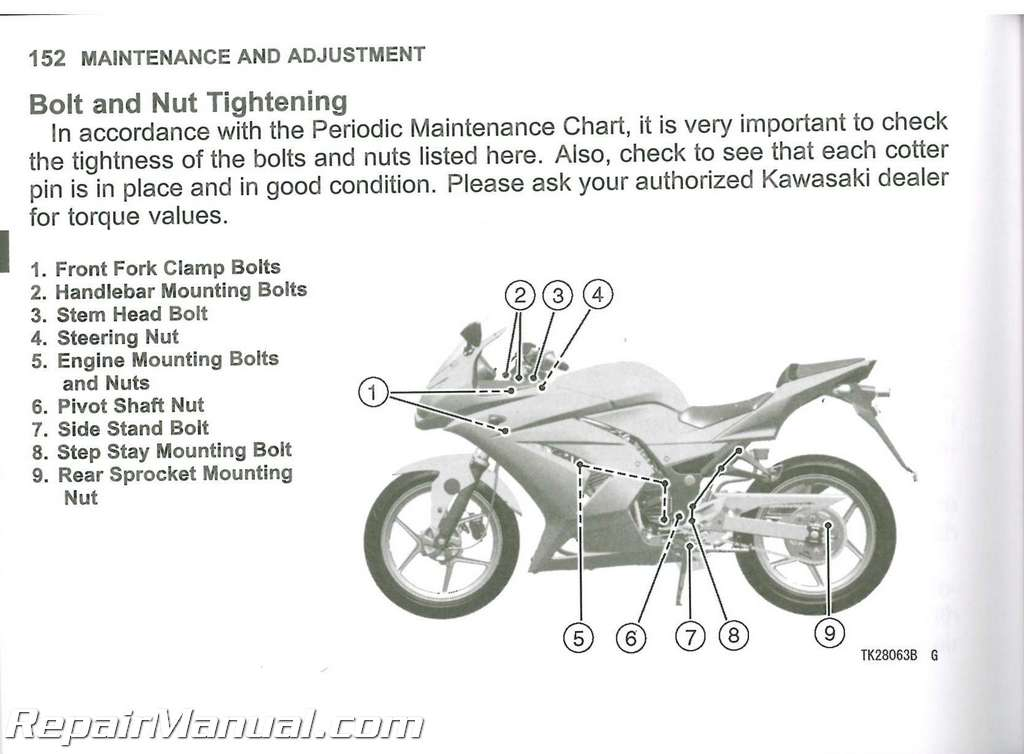 2010 Kawasaki Ex250 Ninja Motorcycle Owners Manual   99987