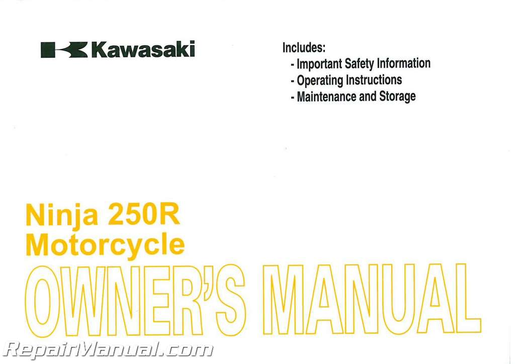 2010 Kawasaki Ex250 Ninja Motorcycle Owners Manual