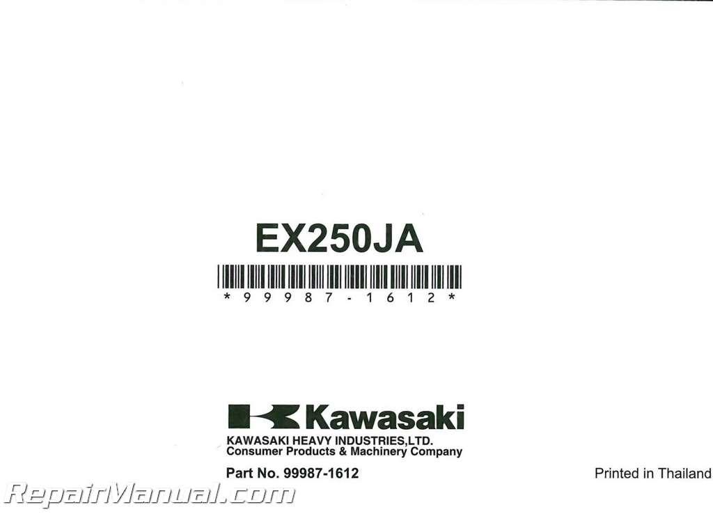 Kawasaki Ninja Ex250 manual on