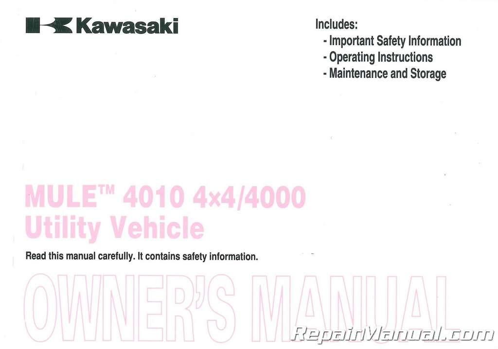 kawasaki mule 4010 4x4 parts manual