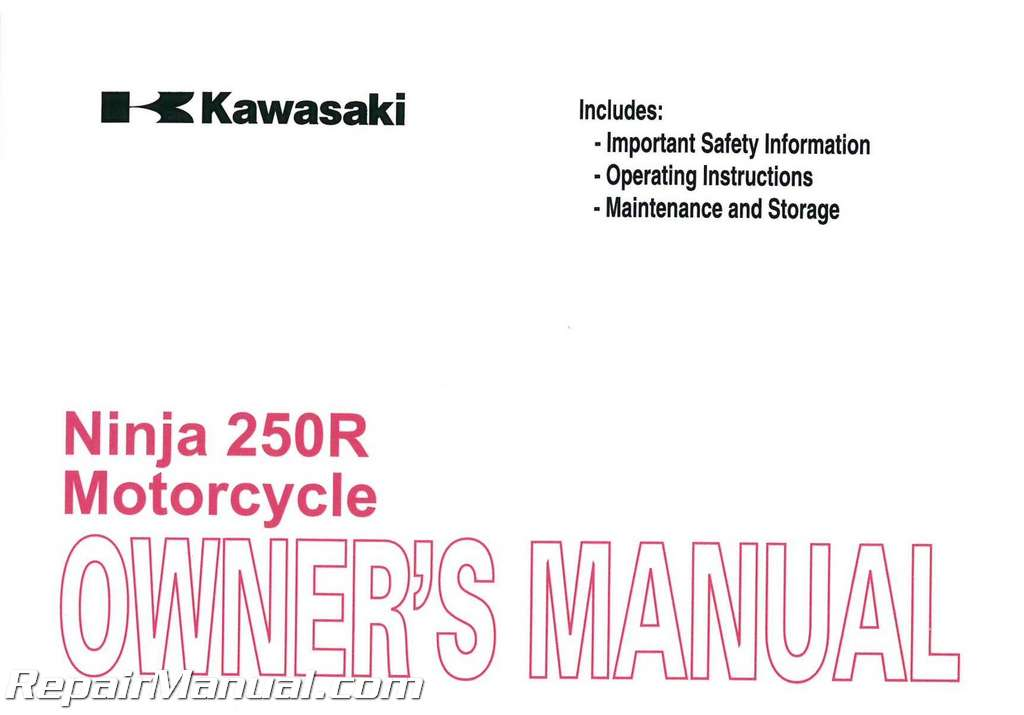 2011 kawasaki ex250 ninja 250r motorcycle owners manual rh repairmanual com 2009 kawasaki ninja 250r owners manual ninja 250 user manual