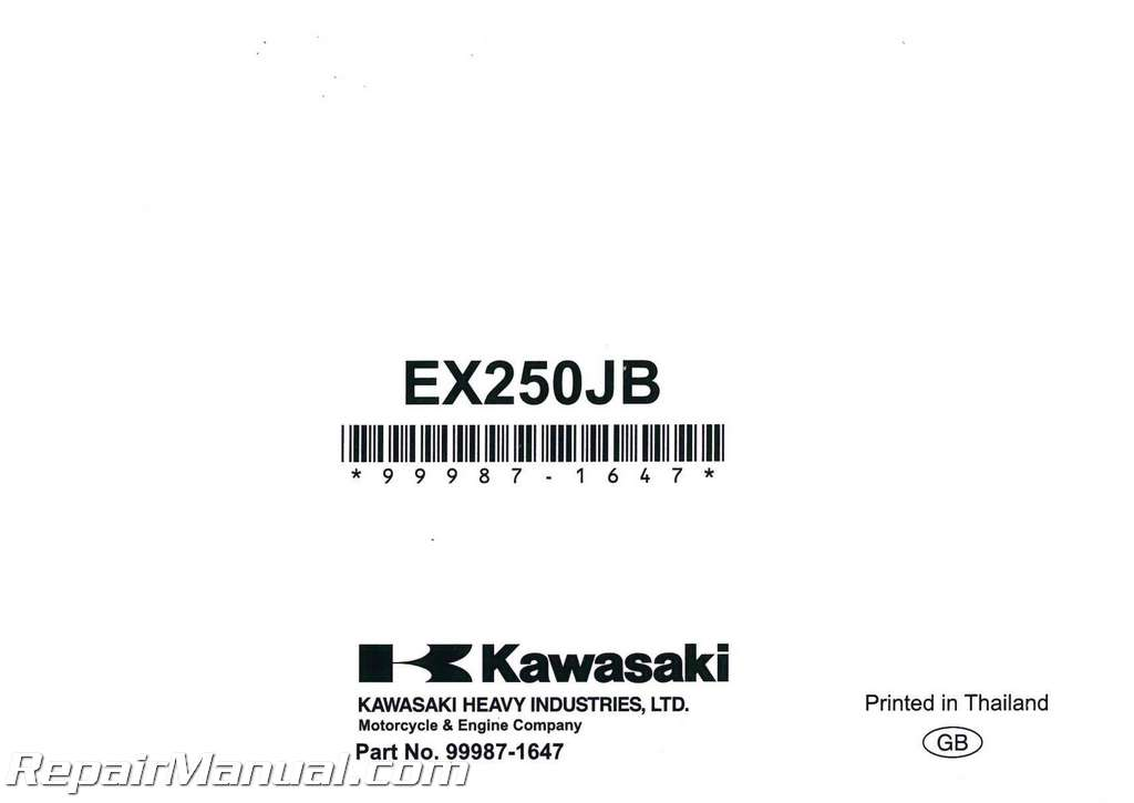 2011 Kawasaki Ex250 Ninja 250r Motorcycle Owners Manual
