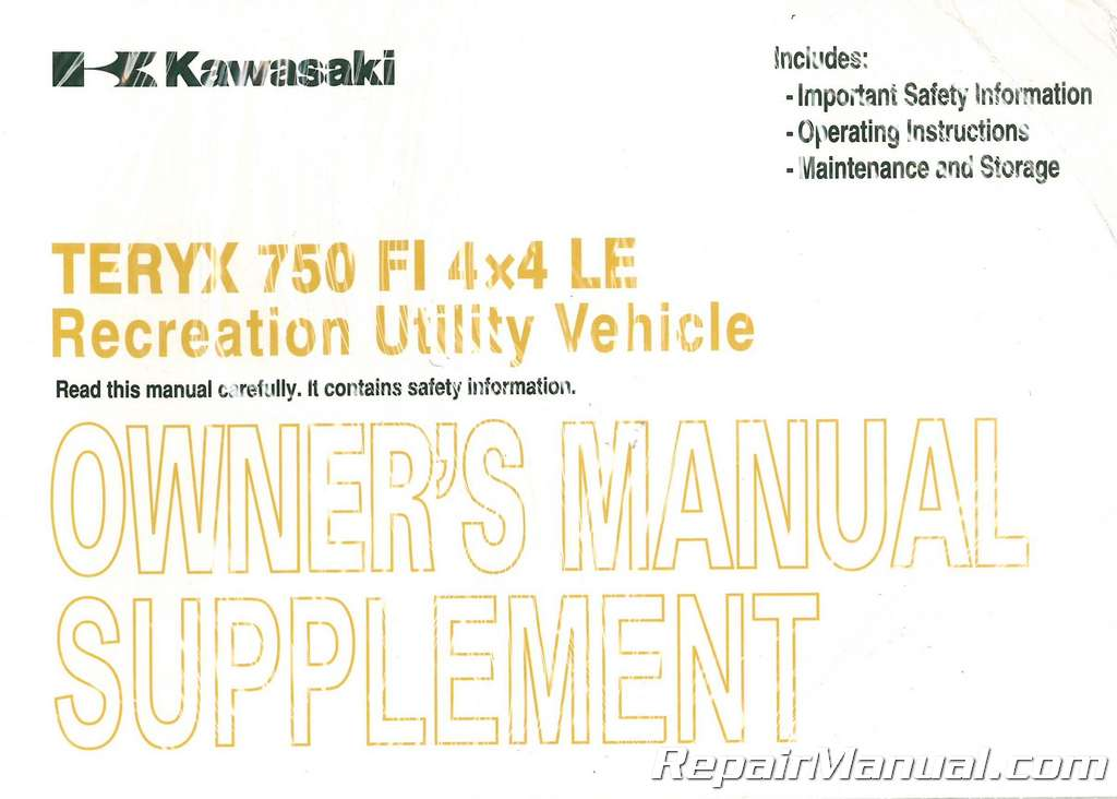 Teryx manual array 2011 kawasaki krf750v teryx 750 4x4 le owners manual supplement rh repairmanual fandeluxe Choice Image