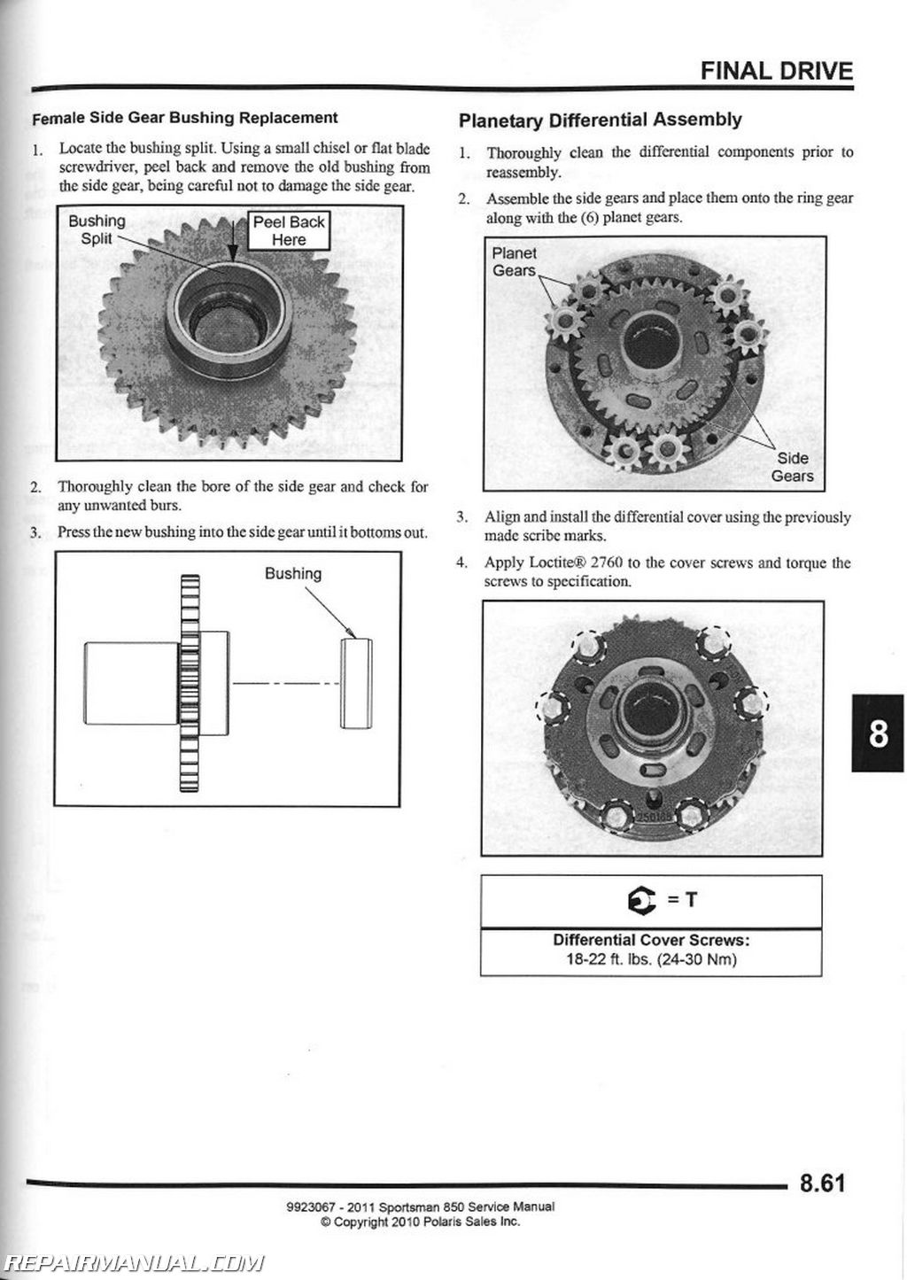 2011 Polaris Sportsman 850 Atv Service Manual
