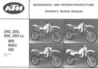 1986 Ktm 240 250 300 350 Mx Mxc Gs Motorcycle Owners Service Manual