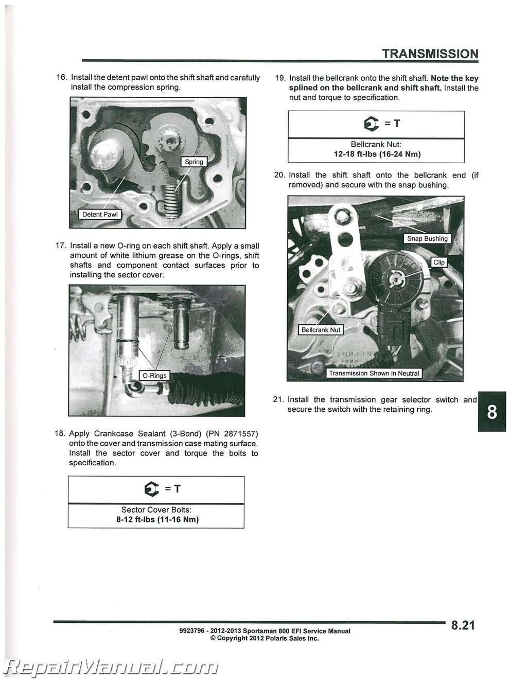2009 polaris sportsman 800 efi service repair workshop manual.