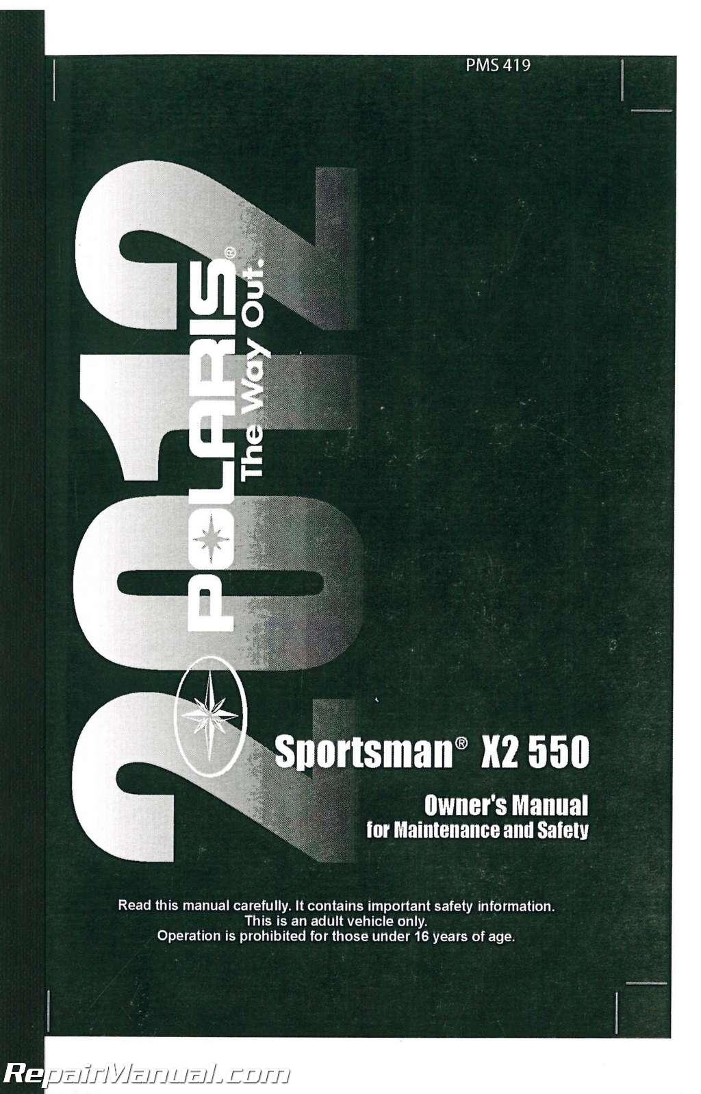 2012 polaris sportsman 550 owners manual