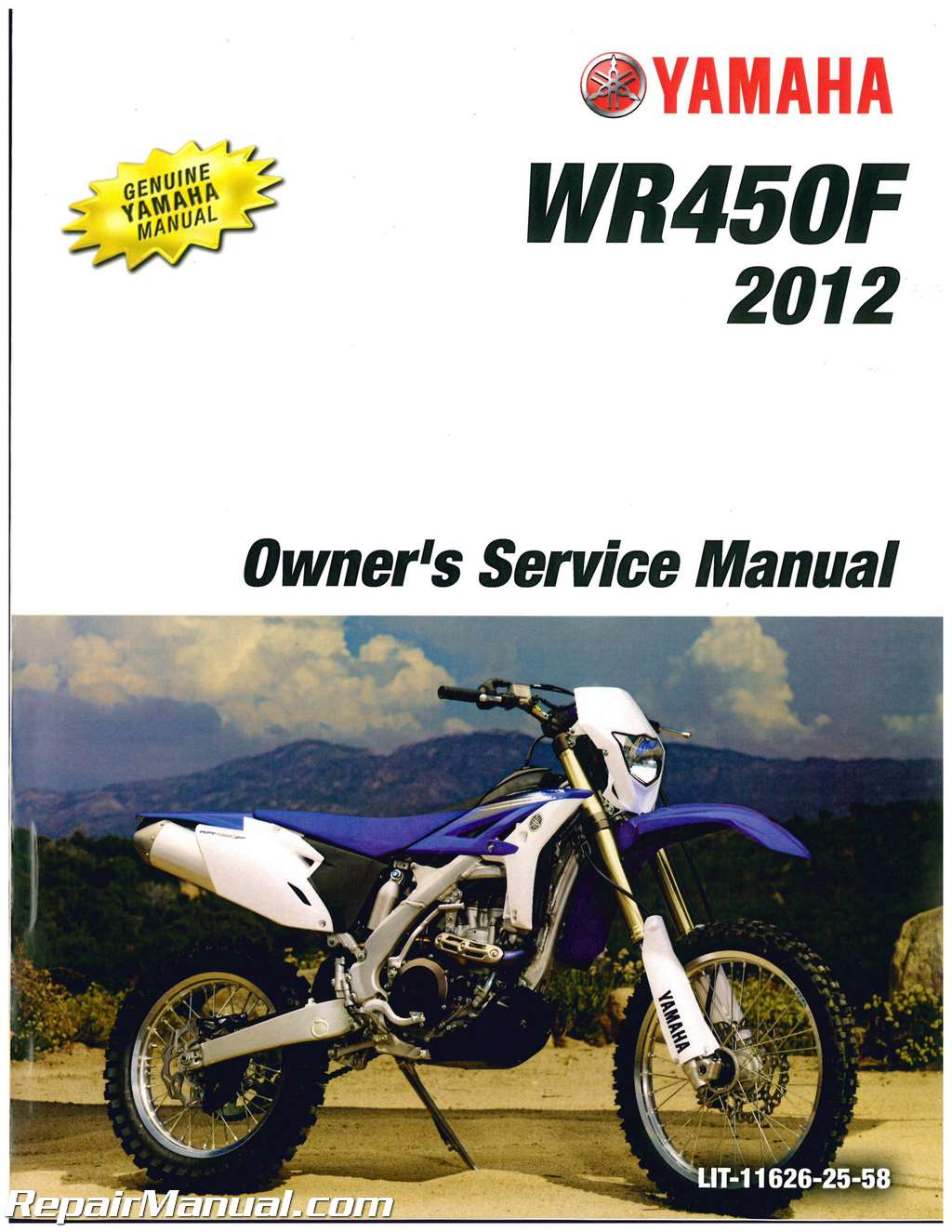 2012 yamaha wr450fb motorcycle owners service manual