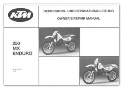 1987 Ktm 250 Mx Enduro Motorcycle Owners Repair Manual
