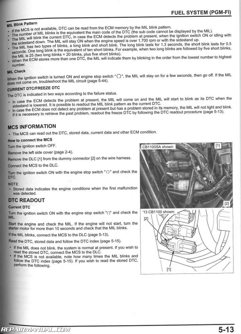 2013 – 2017 Honda CB1100 A Motorcycle Service Manual