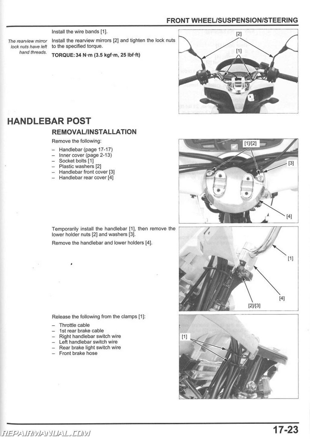 2013 – 2018 Honda PCX150 Scooter Service Manual
