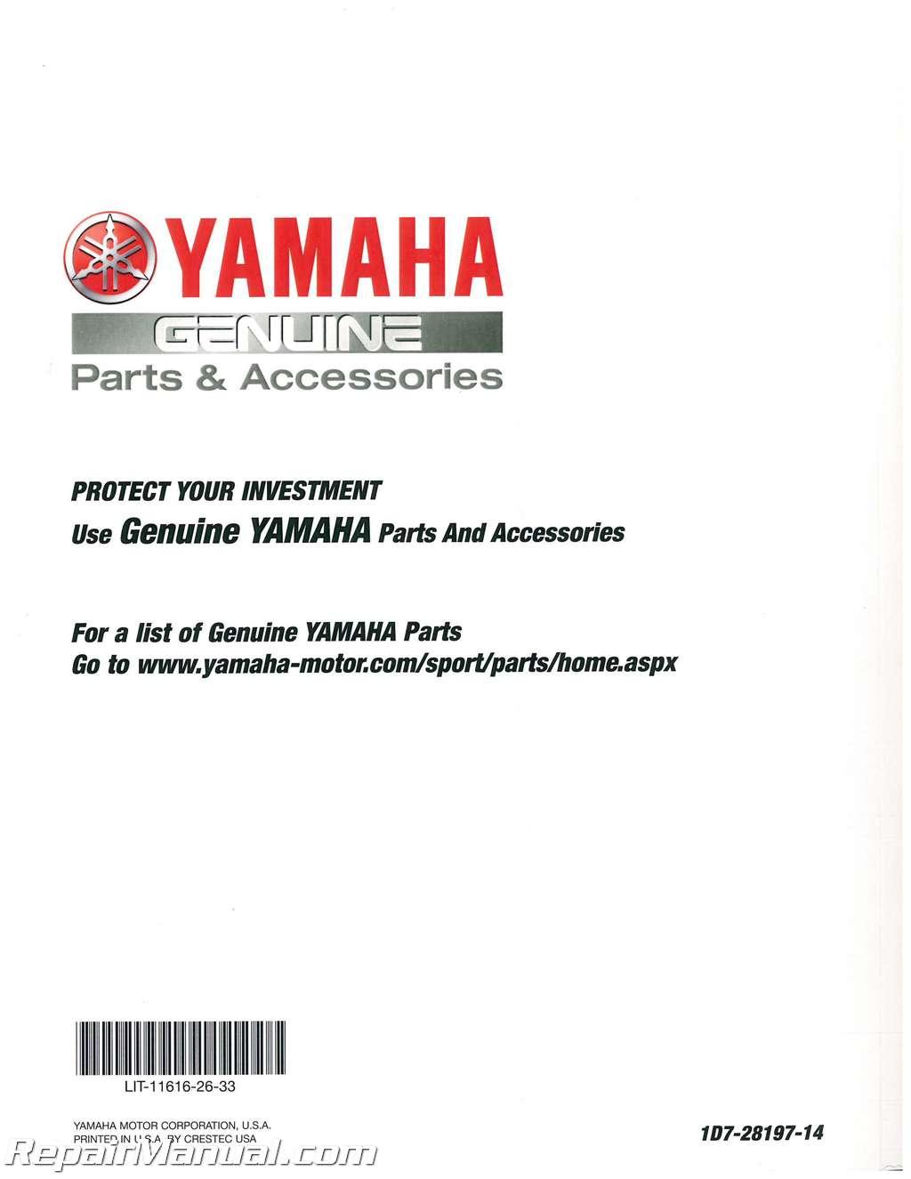 2013-2017 Yamaha Raider S/ Stratoliner S Roadliner S 1900 Motorcycle Service  Manual