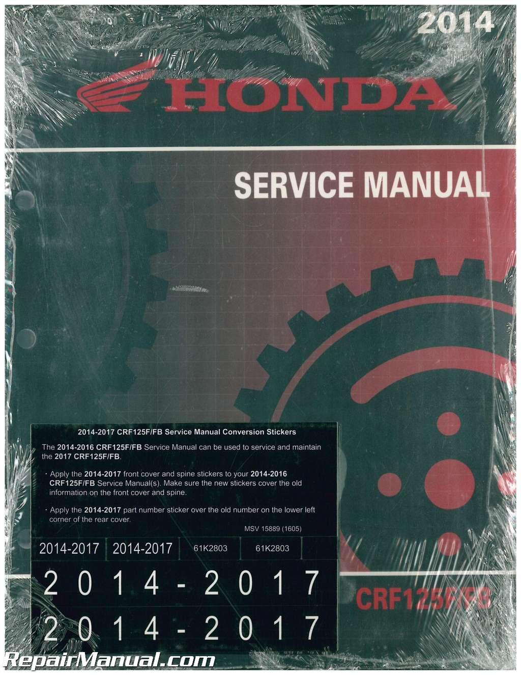 2014 2015 2016 2017 2018 Honda CRF125F/FB Motorcycle Service Manual
