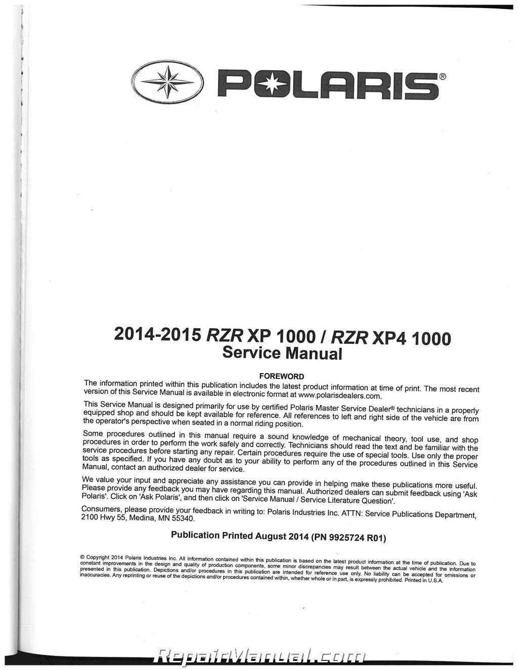 2014 2016 polaris rzr xp xp4 1000 side by side service manual rh repairmanual com Customer Service Books Service Station
