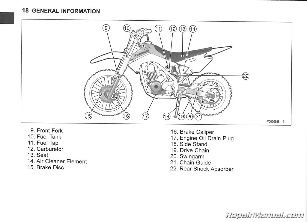 2014 Kawasaki Klx140  L Motorcycle Owners Manual   99987