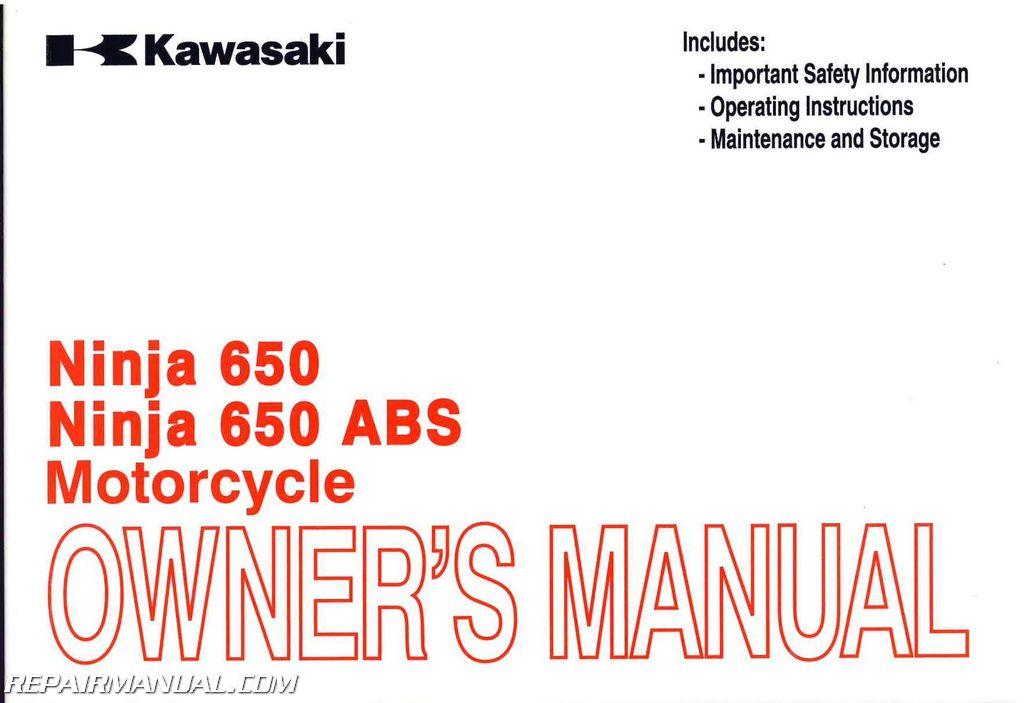 2014 Kawasaki Ninja 650 Ex650e F Motorcycle Owners Manual