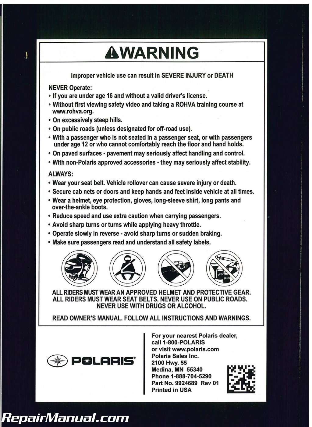 polaris ranger 6x6 parts manual