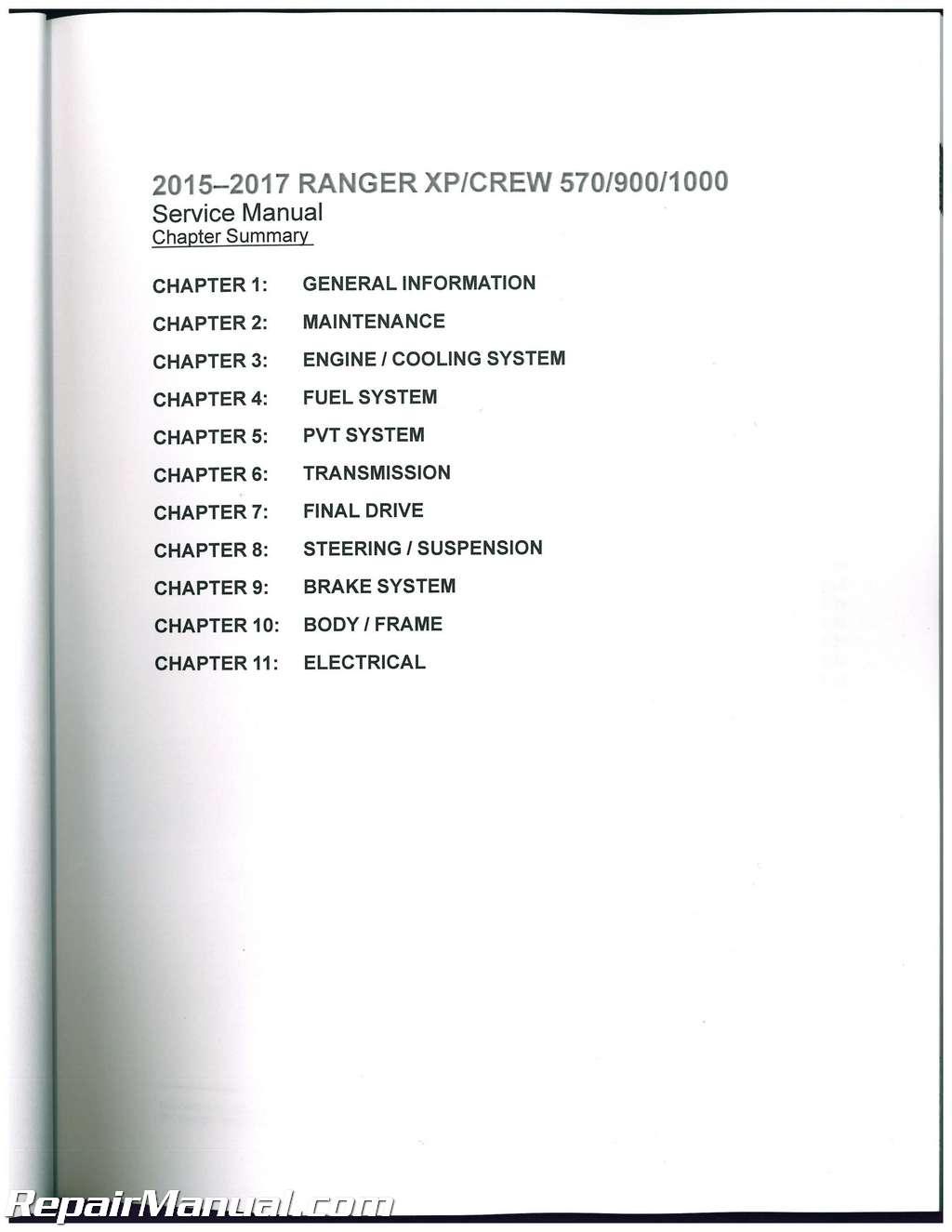 2015 Polaris Ranger 570 >> 2015 2016 2017 Polaris Ranger XP CREW XP 570 900 1000 Side by Side Service Manual