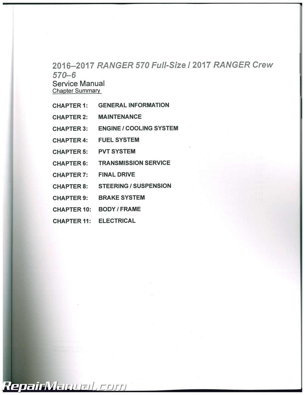 2016 2017 Polaris Ranger 570 Atv Service Manual