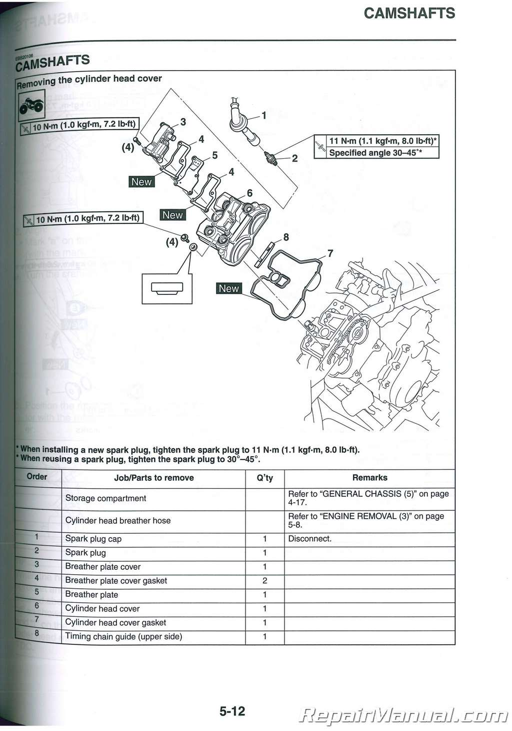 2017 – 2018 Yamaha Grizzly 700 ATV Service Manual