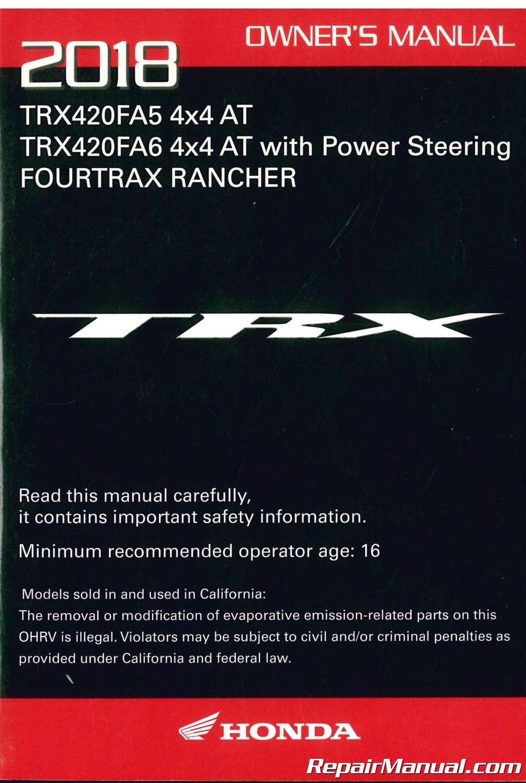 Honda Owners Manual >> 2018 Honda Trx420fa5 Fa6 A Ce Atv Owners Manual