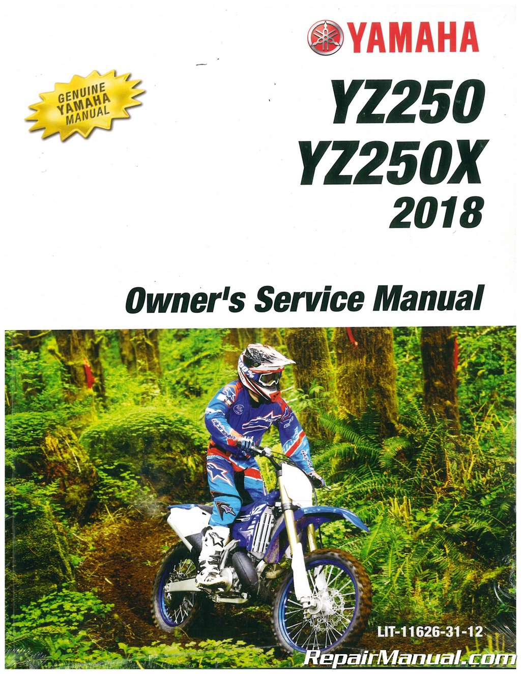 2018 Yamaha Yz250 Yz250x Motorcycle Owners Service Manual