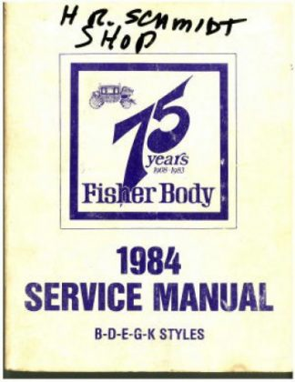 Fisher Body Service Manual 1984 Used