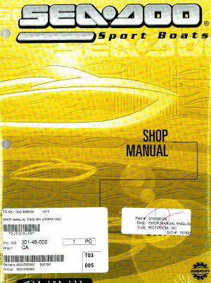 Official 2001-2002 Sea-Doo Utopia 185 And Utopia 205 Factory Shop Manual