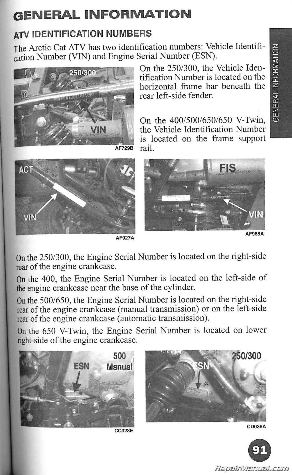 2005 Arctic Cat ATV Owners Manual
