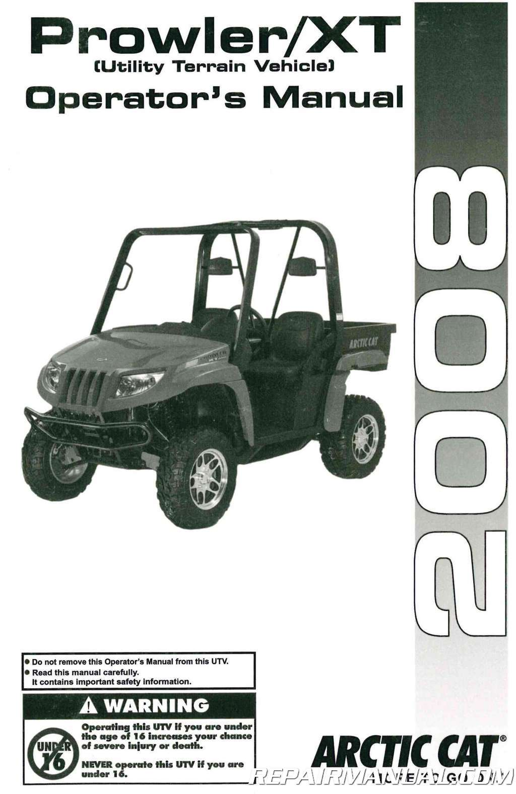2008 Arctic Cat Prowler Xt Side By Side Owners Manual