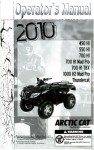 Official 2010 Arctic Cat 450 H1 550 H1 700 H1/H1 Mud Pro/H1 TBX 1000 H2 Mud Pro Thundercat ATV Factory Owners Manual