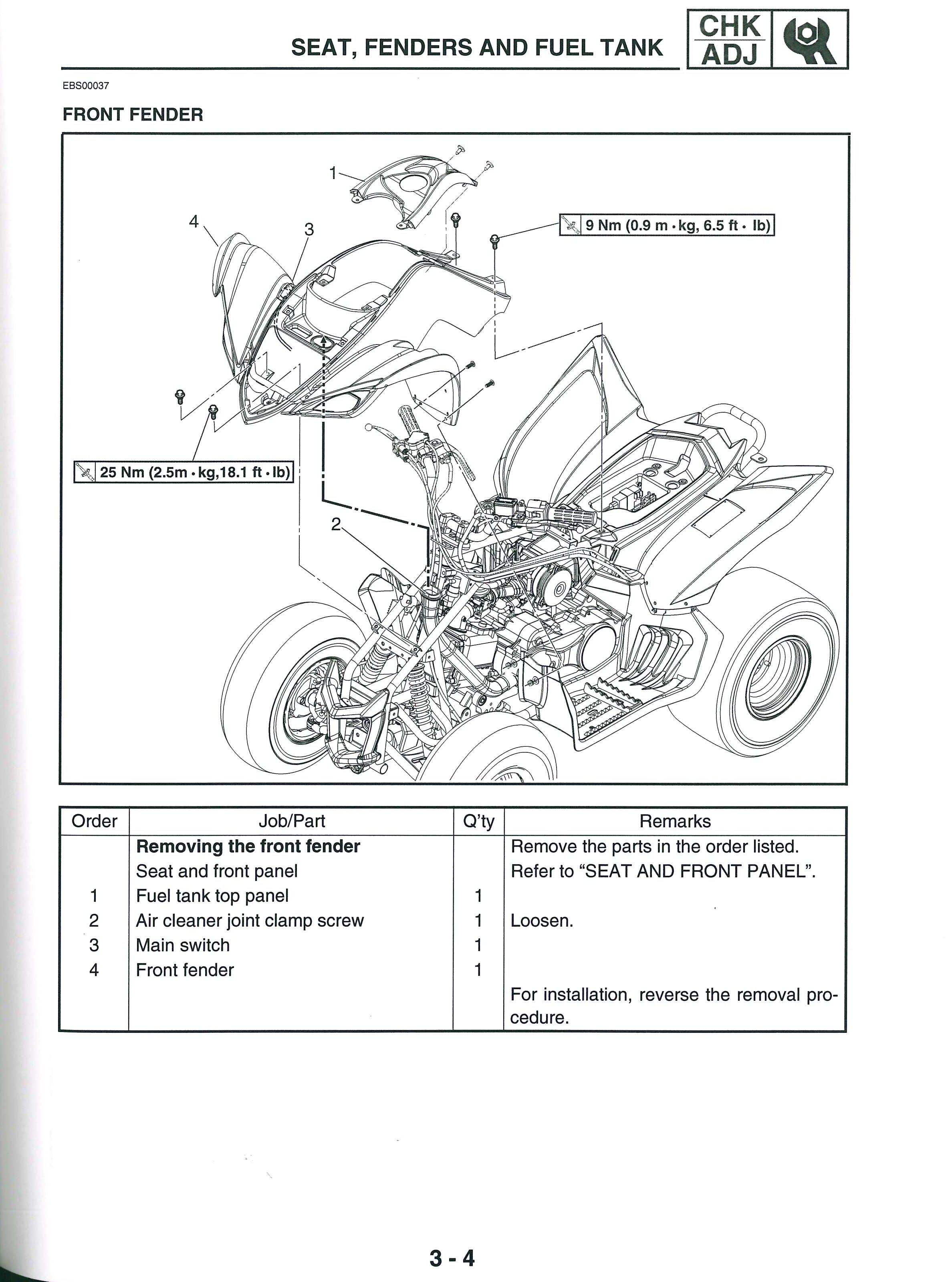 yamaha yfm raptor service manual