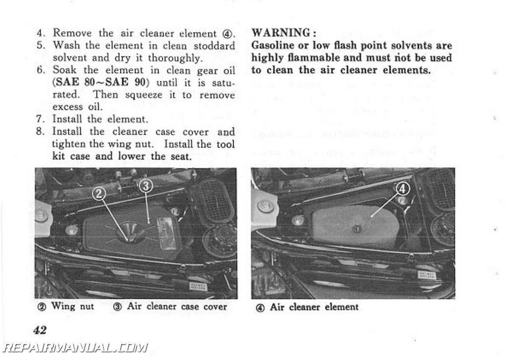 1975 Honda Mt250k1 Elsinore Owners Manual