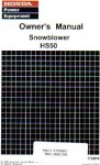 Official Honda HS50 Snowblower Owners Manual