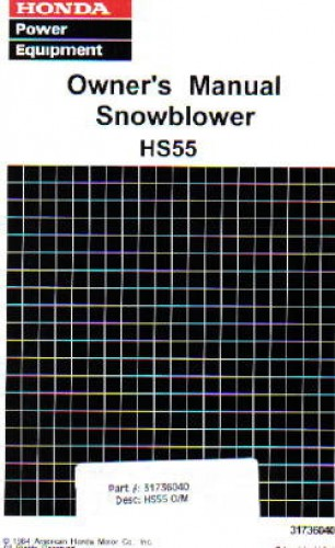 Official Honda HS55 Snowblower Factory Owners Manual