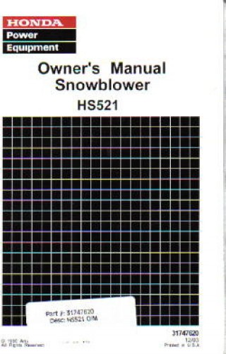 Official Honda HS521 Snowblower Factory Owners Manual
