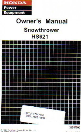 honda hs621 snowblower owners manual