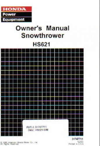 Official Honda HS621 Snowblower Factory Owners Manual