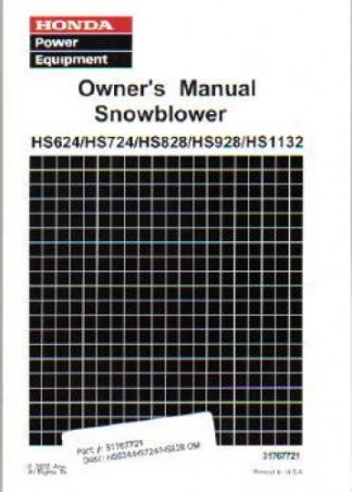 Official Honda HS624 HS724 HS828 HS928 HS1132 Snowblower Factory Owners Manual