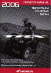 Official 2006 Honda TRX350TM FM ATV Factory Owners Manual