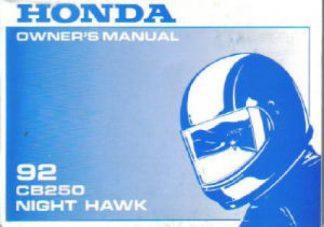 Official 1992 Honda CB250LN Nighthawk Owner Manual