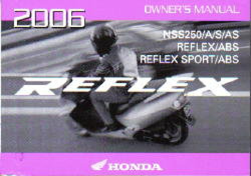 2006 Honda NSS250 A S AS Reflex Scooter Owners Manual
